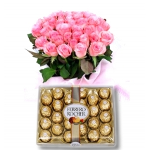 24 Pink Roses with 24 pcs Ferrero To Philippines