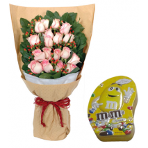 24 Pink Roses bouquet with M & M Chocolate To Philippines