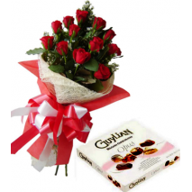 12 Red Roses Bouquet with Guylian Opus Chocolate Box Send To Philippines