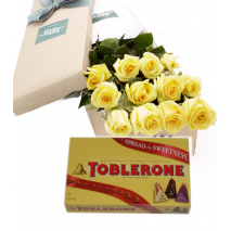 12 Yellow Roses Box with Toblerone 3 Varieties Gift Box Send To Philippines