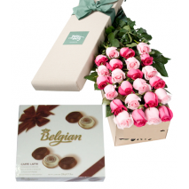 24 Pink & White Roses Box with Belgian Chocolate Send To Philippines
