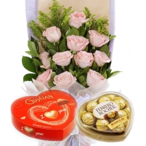 12 Pink Rose bouquet with Guylian & Ferrero Chocolate To Philippines