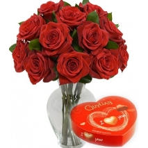 12 Red Rose vase with Guylian Chocolate To Philippines