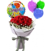 congratulation balloon and roses
