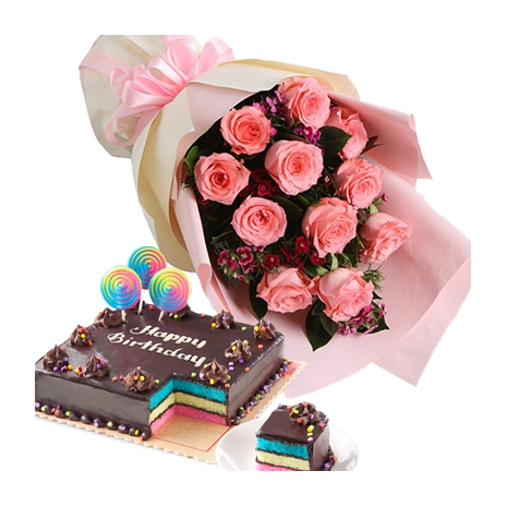 12 Pink Roses in Bouquer with Dedication Cake