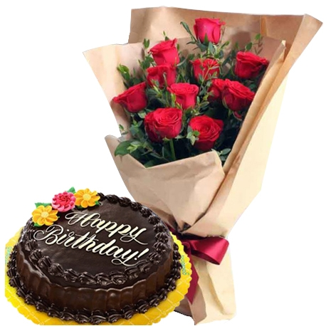 buy roses bouquet with chocolate cake to philippines