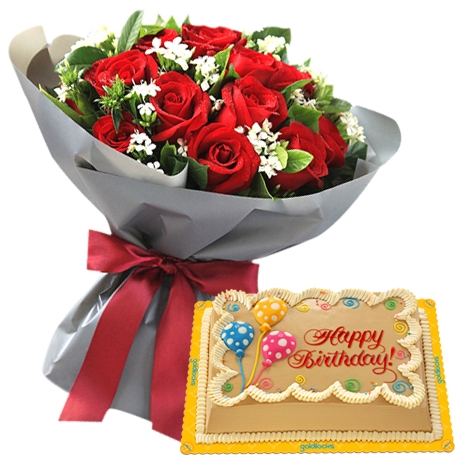 red roses bouquet with birthday cake to philippines