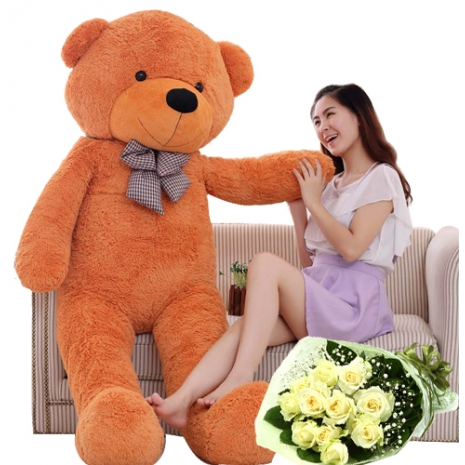 12 peach rose bouquet with giant teddy bear to philippines