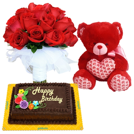buy roses with bear and cake to philippines