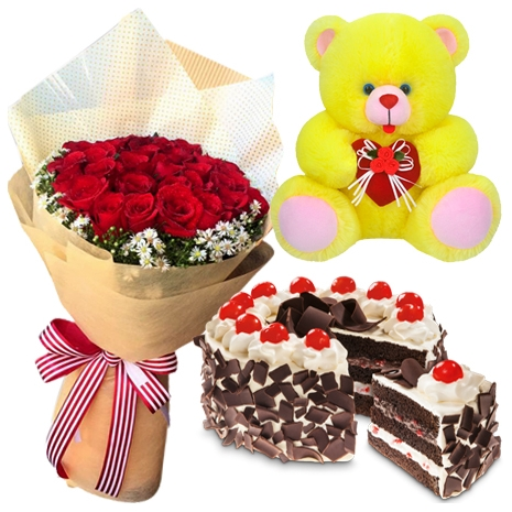 12 Red Roses Bouquet With Black Forest Cake By Red Ribbon Teddy