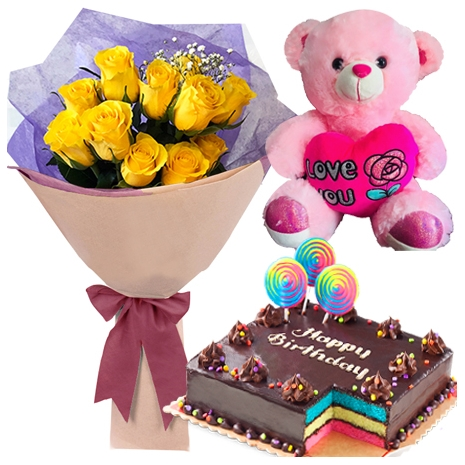 Outstanding Order 12 Yellow Roses Bouquet With Red Ribbon Rainbow Dedication Funny Birthday Cards Online Inifofree Goldxyz