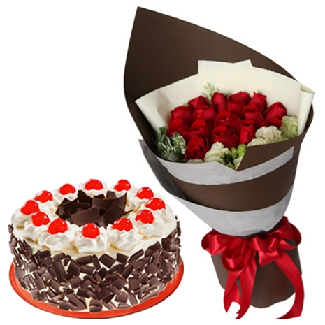 send red rose bouquet with black forest cake to philippines