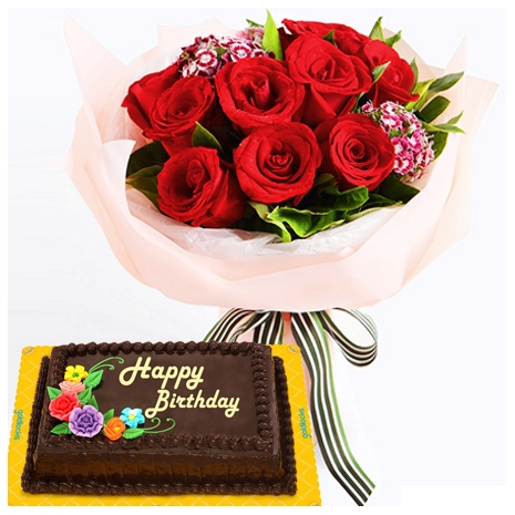 red roses bouquet with choco chiffon cake philippines