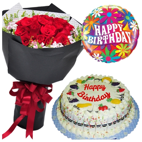 12 Red Roses Bouquet With Fruity Cake By Goldilocks Mylar Balloon