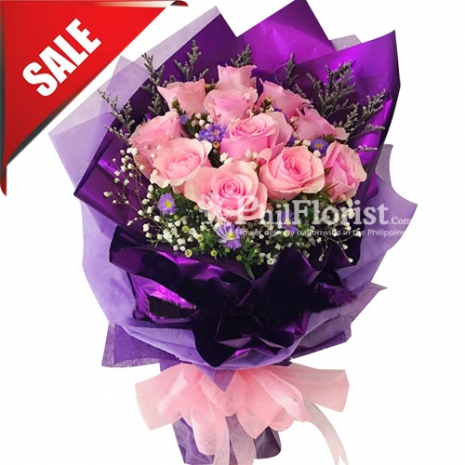 Send V-Day 12 Pink Roses Bouquet to Philippines