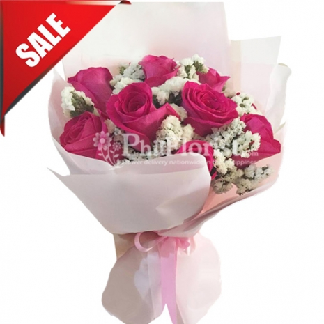 Send 12 Fresh Pink Roses Bouquet to Philippines