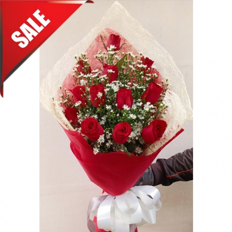 Send 12 Pcs. Red Roses in a Bouquet to Philippines