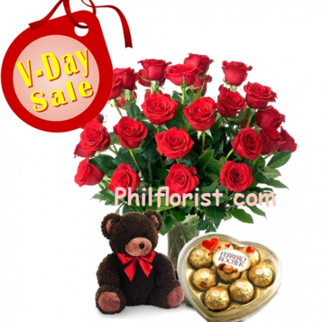 V-Day 24 Red Rose with Teddy & Chocolate to Philippines