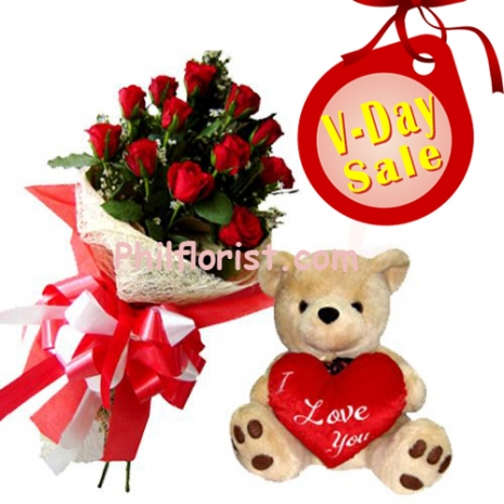 12 red roses in bouquet and bear with pillow send to philippines