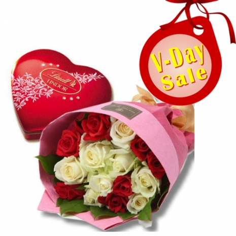 send mixed roses bouquet with lindt chocolate to philippines