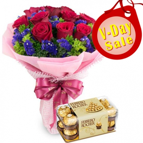 Send 12 Red Roses with Ferrero Chocolate to Philippines