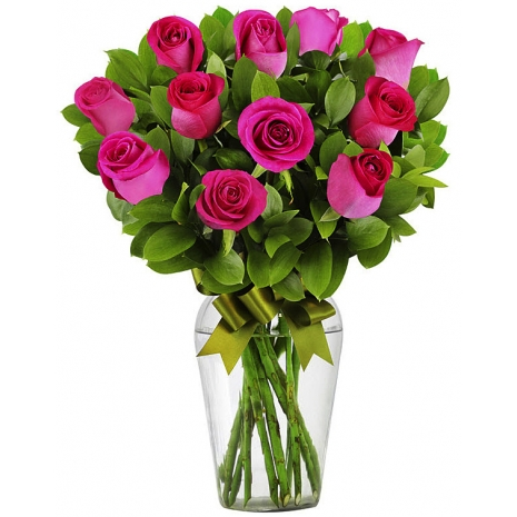 12 Hot Pink Rose Bouquet Send To Philippines