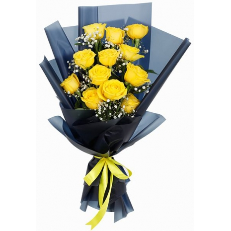 12 Yellow Roses Bouquet Send To Philippines