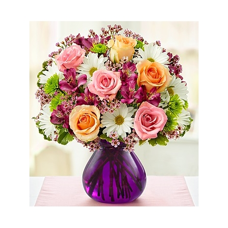 Bouquet of Peach Roses & Pink Roses Delivery To Philippines
