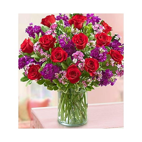 red roses and waxflower Delivery To Philippines