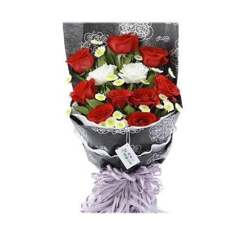 12 Red & White Roses Send To Philippines