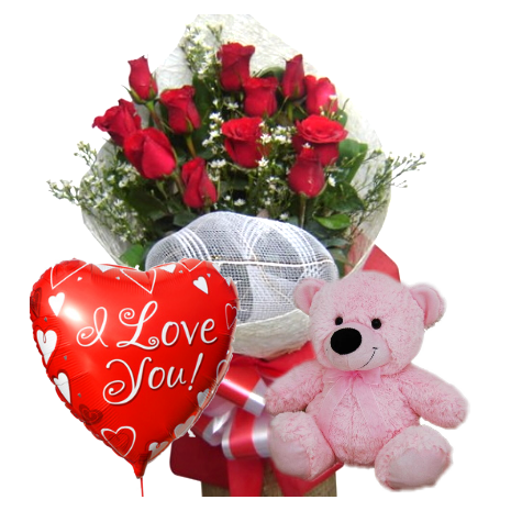 12 Red Rose bouquet,Pink Bear with Love u Balloon To Philippines