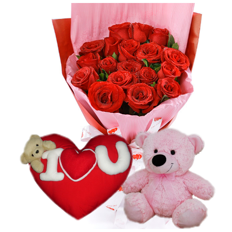 12 Red Rose bouquet,Pink Bear With Wesley Pillow To Philippines