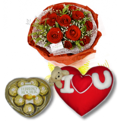 Red Rose bouquet,Ferrero Rocher box with Wesley Pillow To Philippines