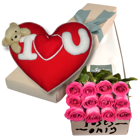 Pink Roses Box with wesley I love u Pillow Send To Philippines