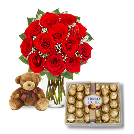 12 Red Roses vase,Ferrero chocolte box with mini Bear To Philippines