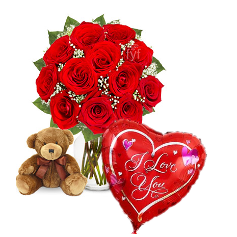 12 Red Rose vase,small Brown bear with Love u BalloonTo Philippines