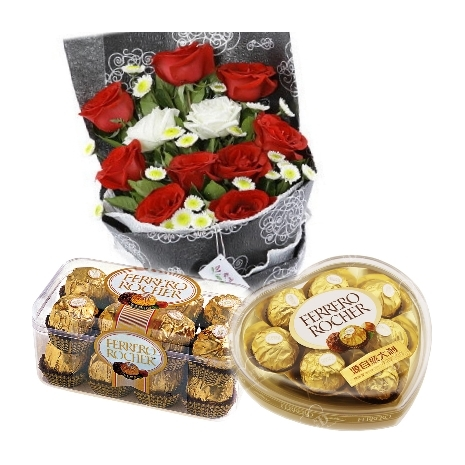 12 Mixed Roses with 2 Ferrero Box To Philippines