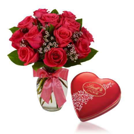 Red Roses  vase with Heart shaped Lindt Chocolate To Philippines