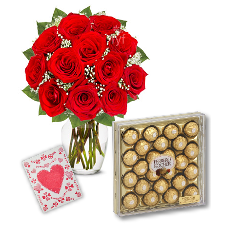 12 Red Roses Vase with 24pcs Ferrero Chocolate Send To Philippines