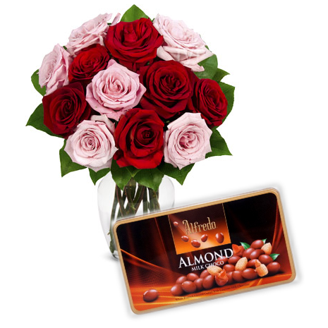 12 Mixed Roses Vase with Alfredo Almond Chocolate Box Send To Philippines