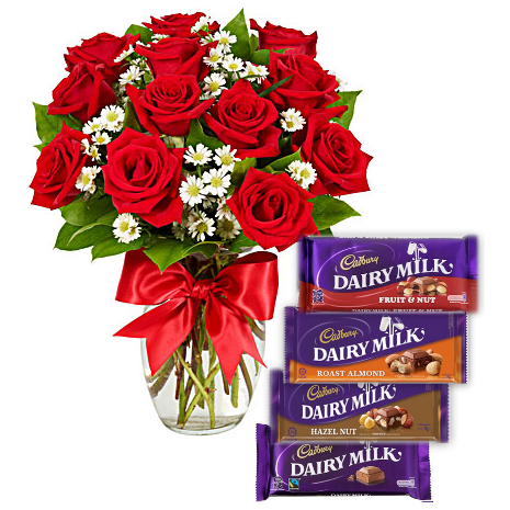 12 Red Roses Vase with Cadbury Dairy Milk 4 Varieties Send To Philippines