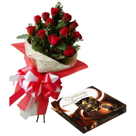 12 Red Roses Bouquet with Guylian Extra Dark Chocolate Box Send To Philippines