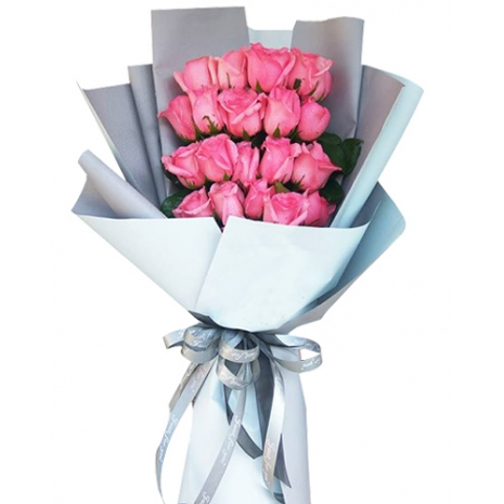 12 Pink Roses with greenery Send To Philippines