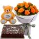 orange rose with cake bear chocolate to philippines