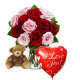 12 Red & Pink Rose vase,Brown Bear with Love U Balloon To Philippines