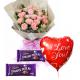 12 Pink Roses,Cadbury Dairy Milk.with Love U Balloon To Philippines