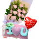 Pink Roses Bouquet,Wesley Pillow with Love U Ballon Send To Philippines