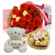 Roses & yellow carnation Bouquet,Pink Bear with Ferrero Send To Philippines